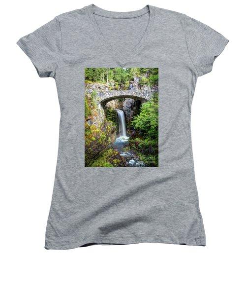 Mt Rainier National Park, Christine Falls Women's V-Neck (Athletic Fit)
