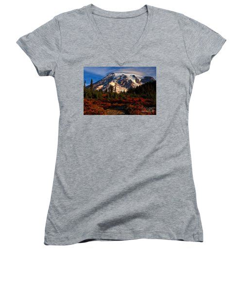Mt. Rainier Paradise Morning Women's V-Neck (Athletic Fit)