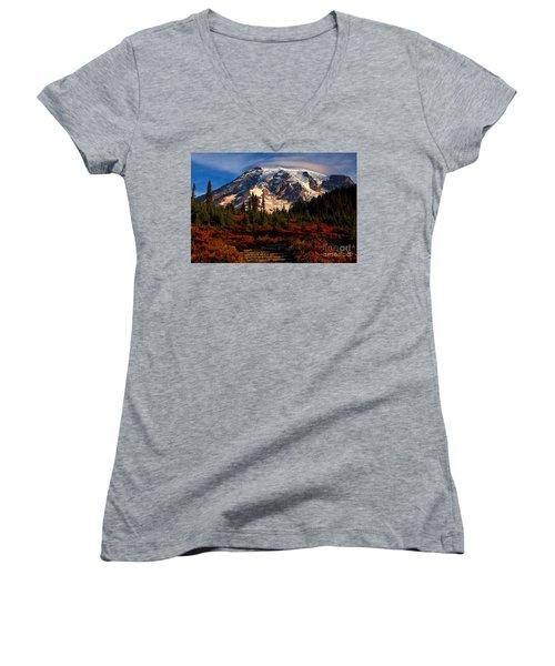 Mt. Rainier Paradise Morning Women's V-Neck T-Shirt