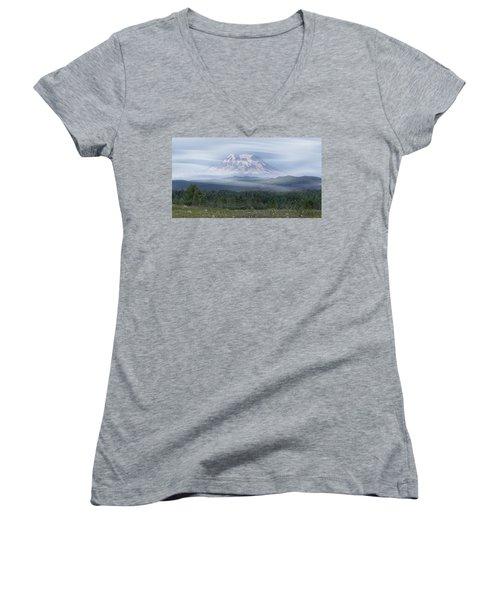 Mt. Rainier Women's V-Neck T-Shirt (Junior Cut) by Patti Deters