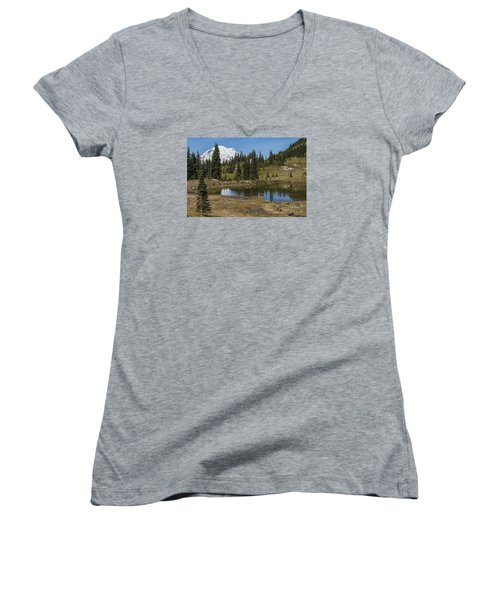 Mt Rainier Reflection Landscape Women's V-Neck T-Shirt