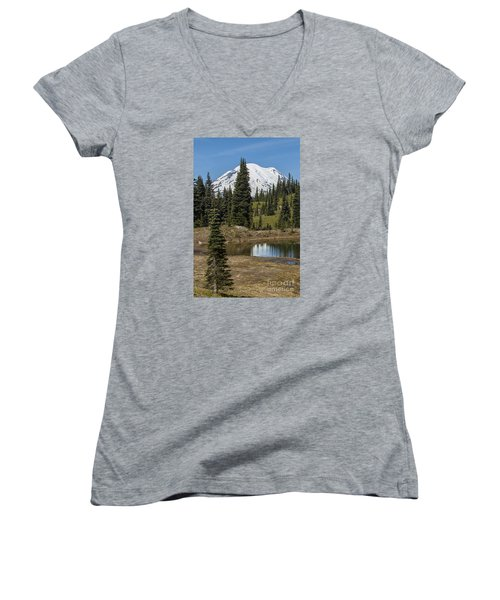 Mt Rainier Reflection Portrait Women's V-Neck T-Shirt