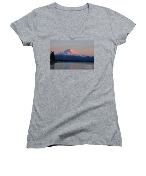 Mt Rainier Sunset Women's V-Neck