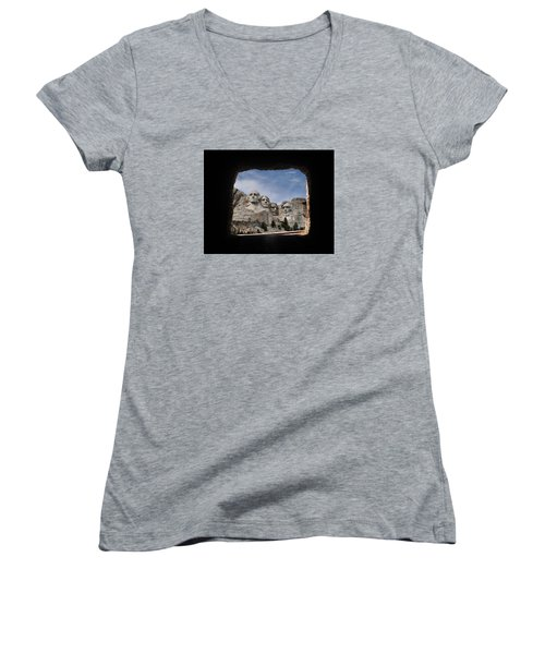 Women's V-Neck T-Shirt (Junior Cut) featuring the photograph Mt Rushmore Tunnel by David Lawson