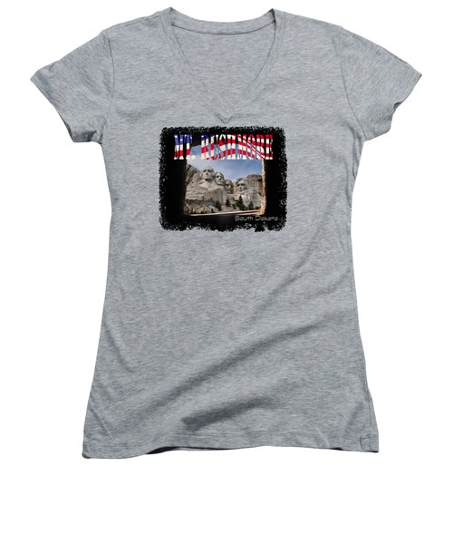 Mt. Rushmore -tunnel Vision Women's V-Neck T-Shirt