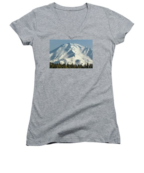 Women's V-Neck T-Shirt (Junior Cut) featuring the photograph Mt Shasta In Early Morning Light by Marc Crumpler