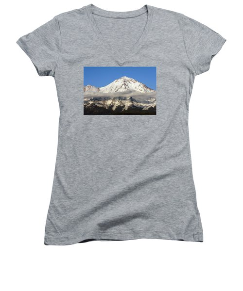 Women's V-Neck T-Shirt (Junior Cut) featuring the photograph Mt. Shasta Summit by Holly Ethan