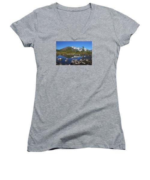 Mt. Shuksan Puddle Reflection Women's V-Neck T-Shirt (Junior Cut) by Scott Cunningham