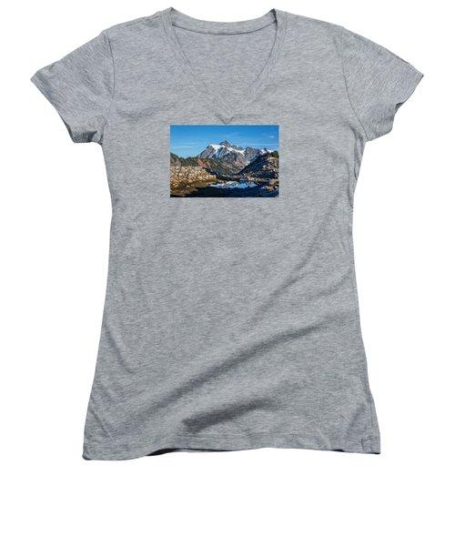 Mt. Shuksan Women's V-Neck T-Shirt (Junior Cut) by Sabine Edrissi Photography