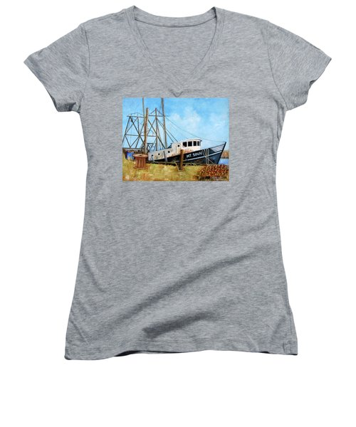 Mt. Sinai Fishing Boat Women's V-Neck (Athletic Fit)