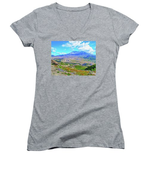Mt. St. Helens Wildflowers Women's V-Neck T-Shirt (Junior Cut) by Ansel Price