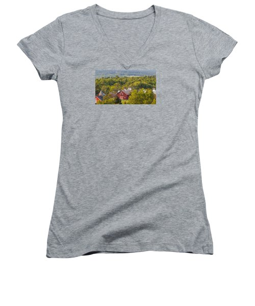 Mt View Farm In Summer Women's V-Neck T-Shirt (Junior Cut) by Tim Kirchoff