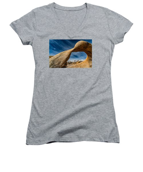 Mt Whitney Through Mobius Arch Women's V-Neck T-Shirt (Junior Cut) by Janis Knight