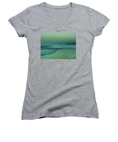 Muawai Sunset Women's V-Neck T-Shirt (Junior Cut) by Karen Lewis
