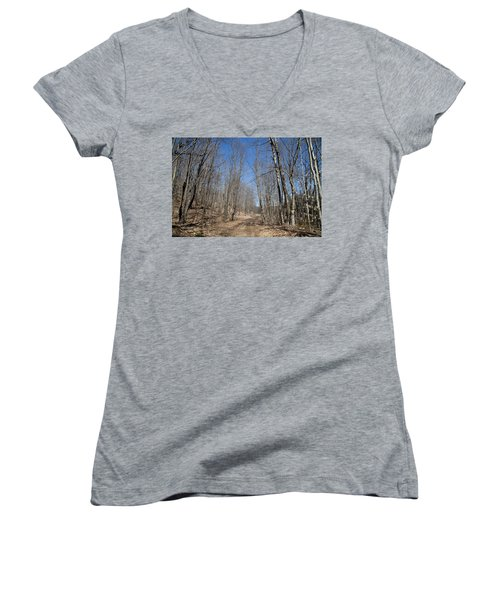Women's V-Neck T-Shirt (Junior Cut) featuring the photograph Mud Season In The Adirondacks by David Patterson