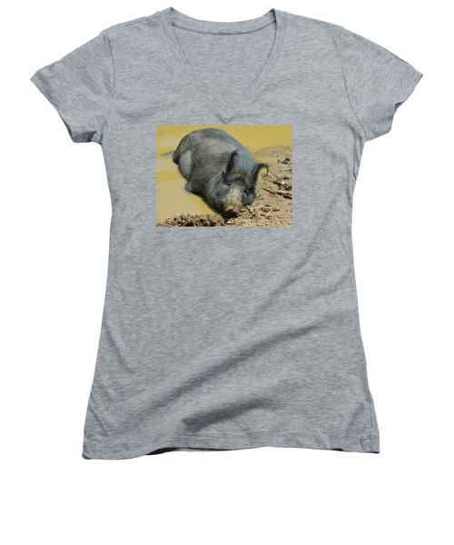 Mud Spa Women's V-Neck T-Shirt (Junior Cut) by Emmy Marie Vickers