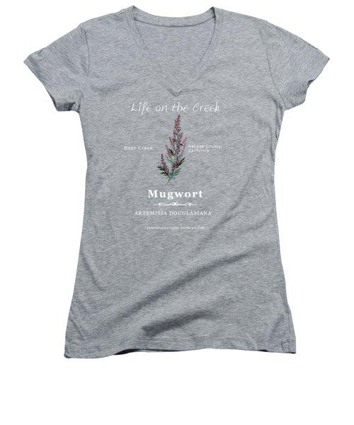 Mugwort - White Text Women's V-Neck