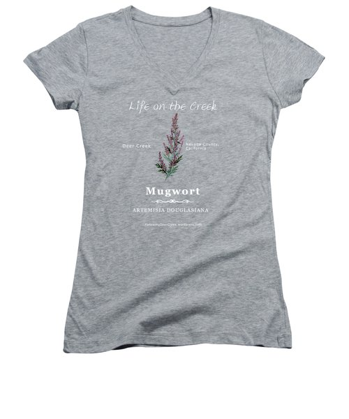 Mugwort - White Text Women's V-Neck (Athletic Fit)