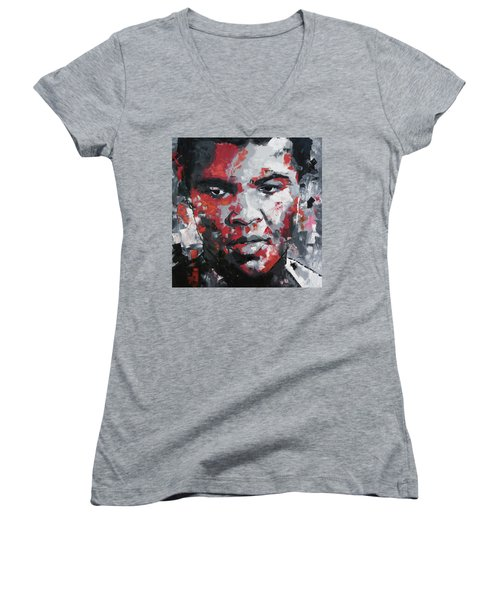 Muhammad Ali II Women's V-Neck T-Shirt (Junior Cut) by Richard Day