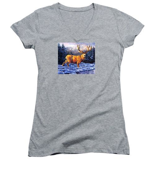 Mule Deer 2 Women's V-Neck T-Shirt (Junior Cut) by Tim Gilliland