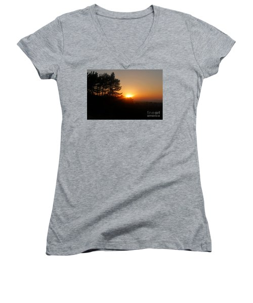 Women's V-Neck T-Shirt (Junior Cut) featuring the photograph Mulholland Sunset And Silhouette by Nora Boghossian
