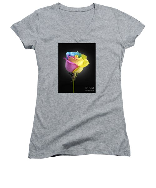 Rainbow Rose 1 Women's V-Neck T-Shirt (Junior Cut)