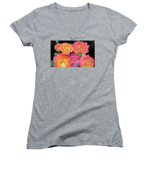 Multi-color Roses Women's V-Neck T-Shirt