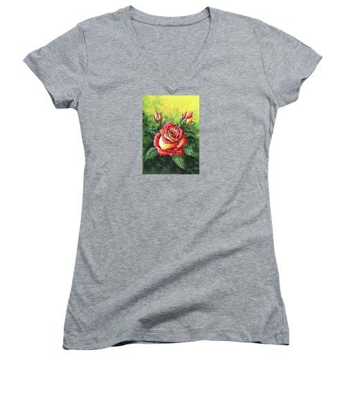 Multi Coloured Rose Sketch Women's V-Neck