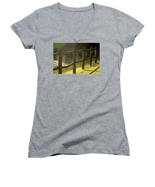 Multiple Spiderwebs On Wooden Fence Women's V-Neck T-Shirt (Junior Cut) by Emanuel Tanjala