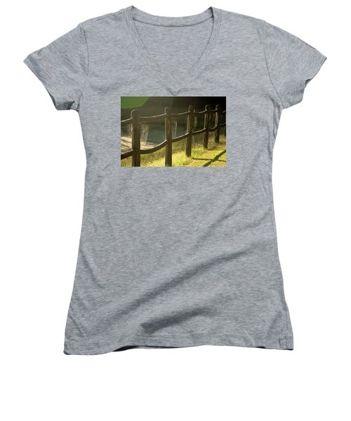 Multiple Spiderwebs On Wooden Fence Women's V-Neck