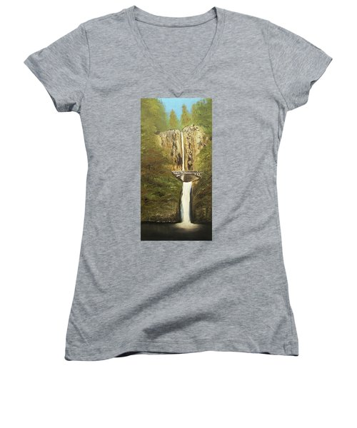 Women's V-Neck T-Shirt (Junior Cut) featuring the mixed media Multnomah Falls by Angela Stout