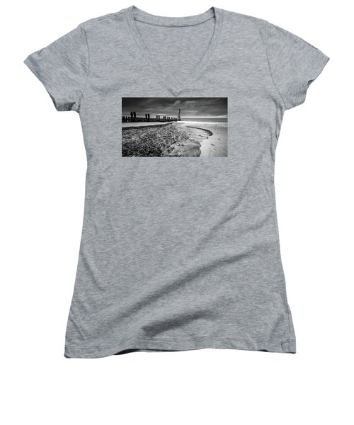 Women's V-Neck featuring the photograph Mundesley Beach - Mono by James Billings