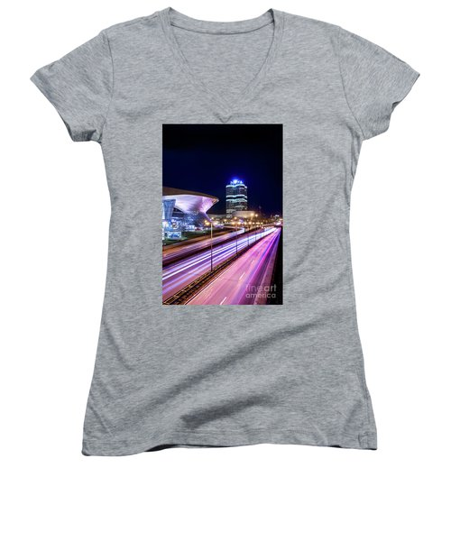 Women's V-Neck T-Shirt (Junior Cut) featuring the pyrography Munich - Bmw City At Night by Hannes Cmarits