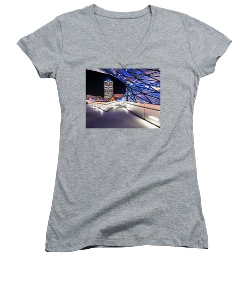 Women's V-Neck T-Shirt (Junior Cut) featuring the pyrography Munich - Bwm Modern And Futuristic by Hannes Cmarits