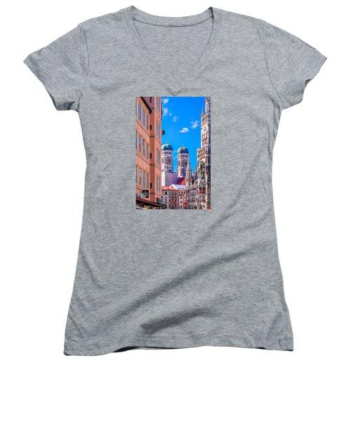 Women's V-Neck T-Shirt (Junior Cut) featuring the photograph Munich Center by Juergen Klust