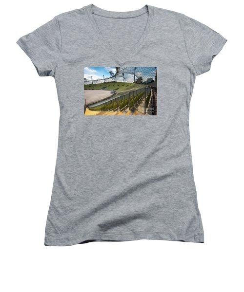 Munich - Olympic Stadium Women's V-Neck T-Shirt (Junior Cut) by Juergen Klust