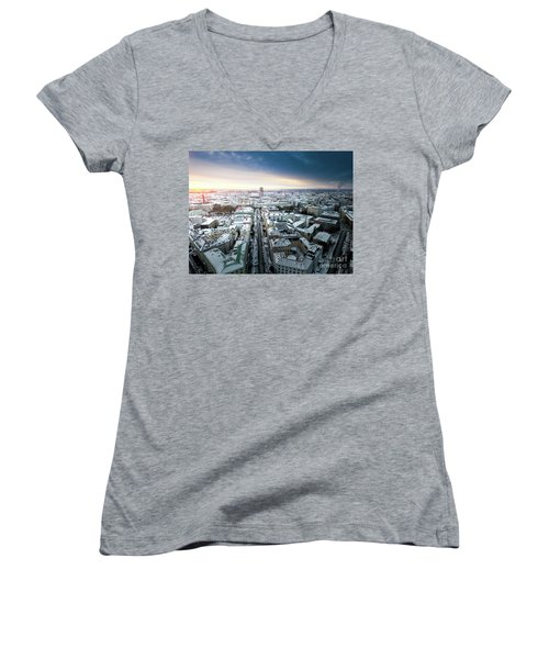 Women's V-Neck T-Shirt (Junior Cut) featuring the photograph Munich - Sunrise At A Winter Day by Hannes Cmarits