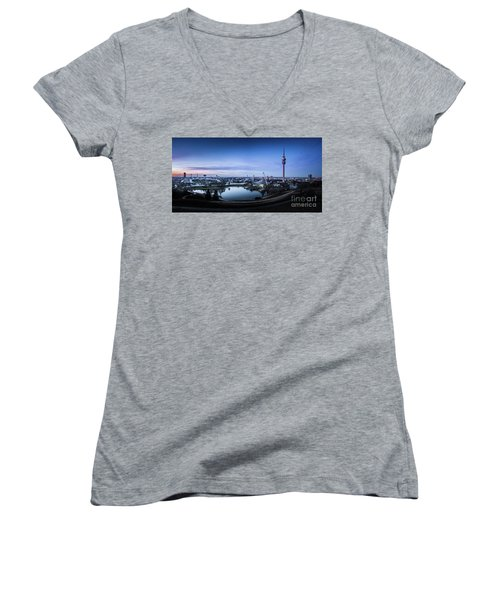 Women's V-Neck T-Shirt (Junior Cut) featuring the photograph Munich - Watching The Sunset At The Olympiapark by Hannes Cmarits