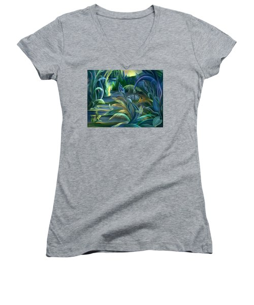 Mural  Insects Of Enchanted Stream Women's V-Neck (Athletic Fit)