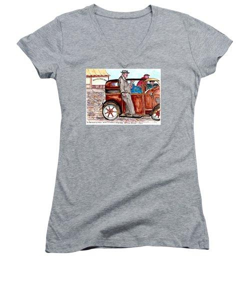 Murder On Hamilton Avenue, Red Hook, Brooklyn Women's V-Neck T-Shirt (Junior Cut)