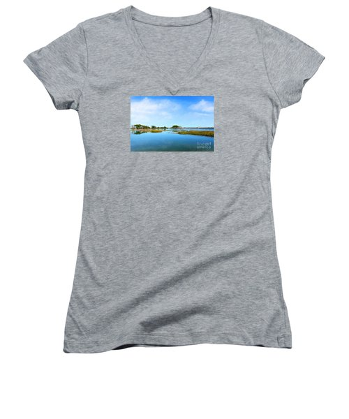 Murrells Inlet Women's V-Neck T-Shirt (Junior Cut) by Kathy Baccari