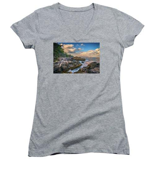 Muscongus Bay Women's V-Neck T-Shirt (Junior Cut) by Rick Berk