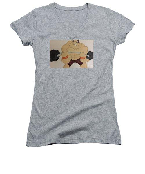 Muscular Man Women's V-Neck T-Shirt