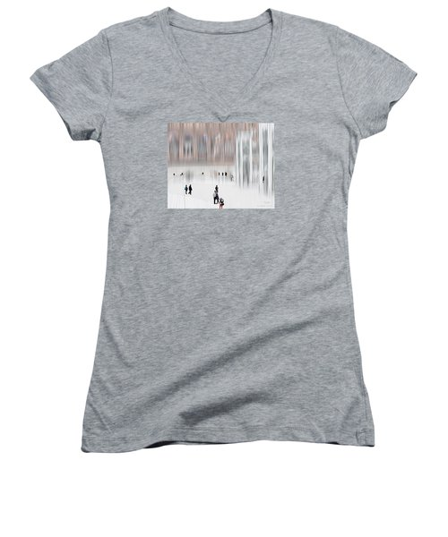 Women's V-Neck T-Shirt (Junior Cut) featuring the digital art Museum Of Nothing by Pedro L Gili