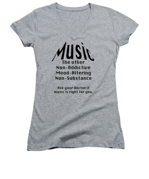 Music Is Right For You 5502.02 Women's V-Neck T-Shirt (Junior Cut) by M K  Miller