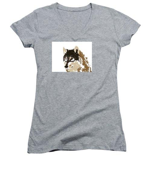 Women's V-Neck T-Shirt (Junior Cut) featuring the digital art Music Notes 21 by David Bridburg