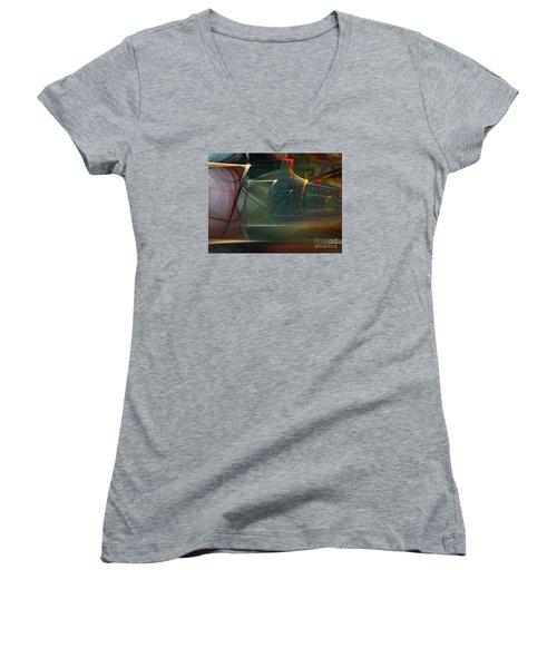 Women's V-Neck T-Shirt (Junior Cut) featuring the digital art Music Sound by Karin Kuhlmann