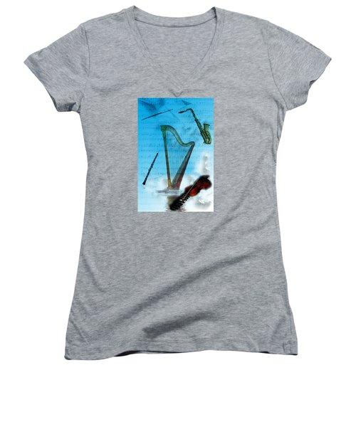 Musical Instruments Women's V-Neck T-Shirt (Junior Cut) by Angel Jesus De la Fuente