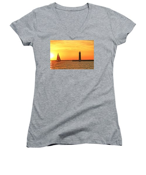 Muskegon Sunset Women's V-Neck (Athletic Fit)