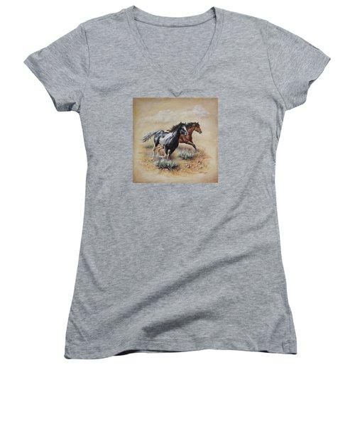 Mustang Glory Women's V-Neck T-Shirt (Junior Cut) by Kim Lockman